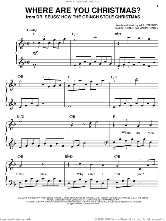 Where Are You Christmas? (from How The Grinch Stole Christmas) sheet music for piano solo by Faith Hill, James Horner, Mariah Carey and Will Jennings, easy skill level