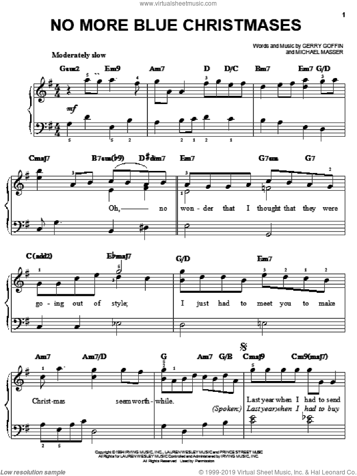 No More Blue Christmases sheet music for piano solo by Gerry Goffin and Michael Masser, easy skill level