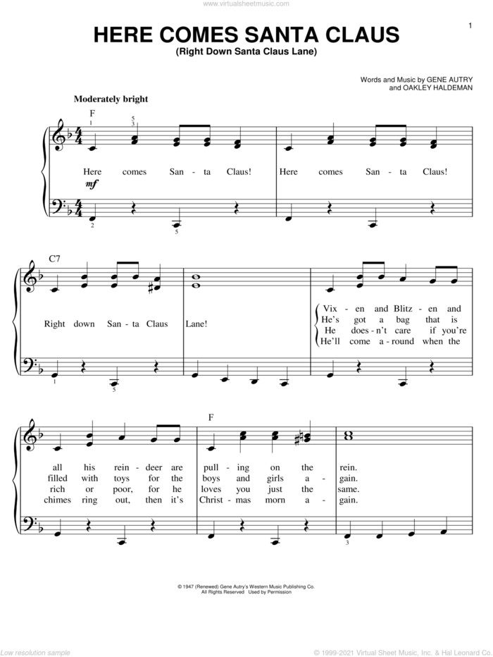 Here Comes Santa Claus (Right Down Santa Claus Lane), (easy) sheet music for piano solo by Gene Autry and Oakley Haldeman, easy skill level