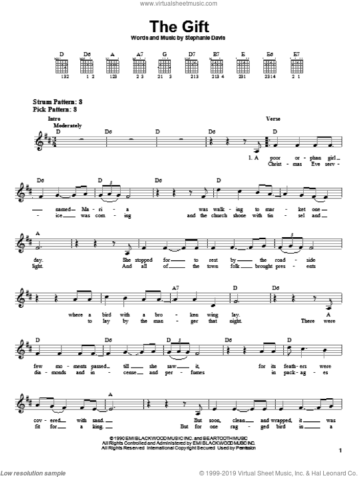 The Gift sheet music for guitar solo (chords) by Stephanie Davis, easy guitar (chords)