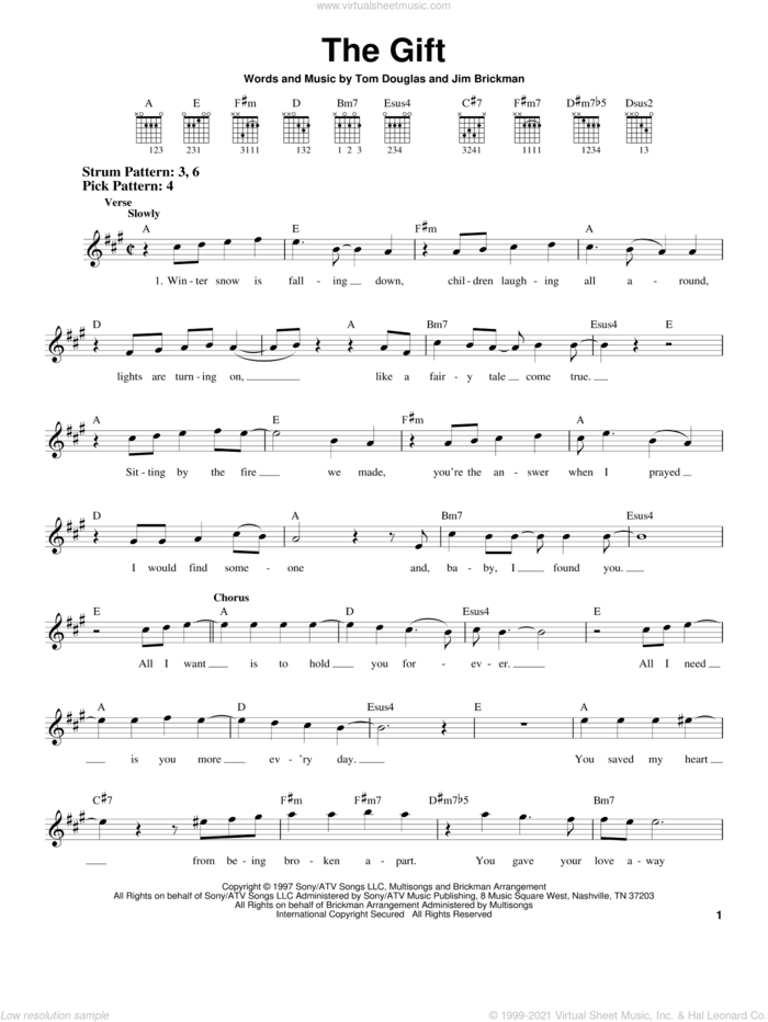 The Gift sheet music for guitar solo (chords) by Jim Brickman, Collin Raye and Tom Douglas, wedding score, easy guitar (chords)