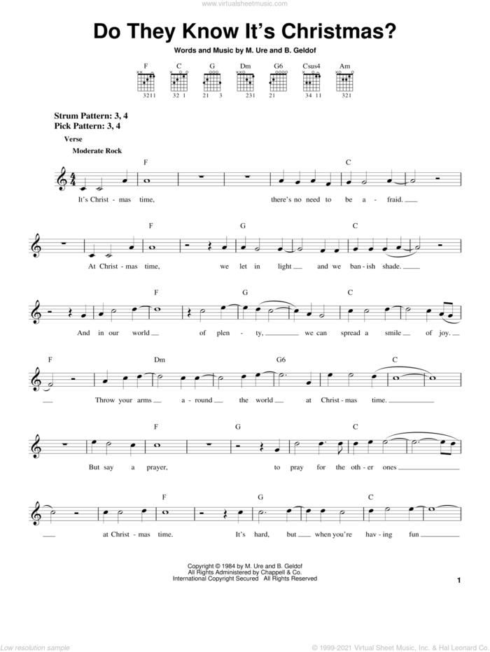 Do They Know It's Christmas? sheet music for guitar solo (chords) by Band Aid, B. Geldof and Midge Ure, easy guitar (chords)