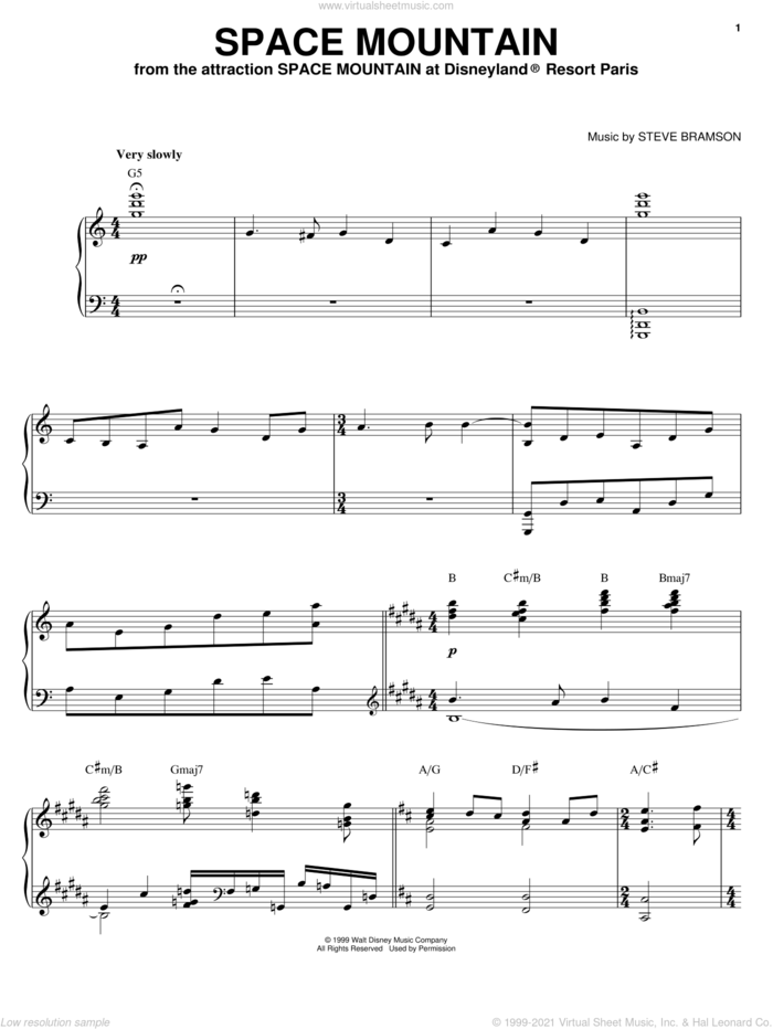 Space Mountain sheet music for piano solo by Steve Bramson, intermediate skill level