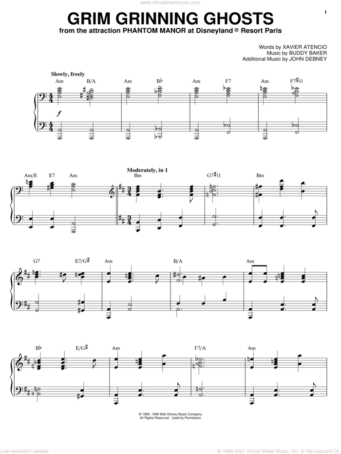 Grim Grinning Ghosts sheet music for piano solo by Xavier Atencio and Buddy Baker, intermediate skill level