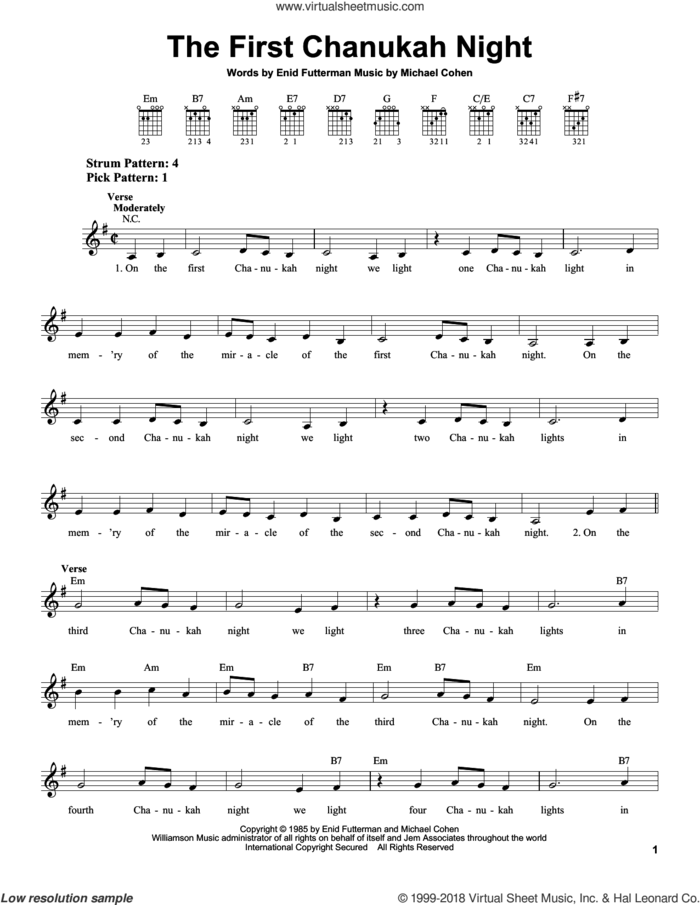 The First Chanukah Night sheet music for guitar solo (chords) by Enid Futterman and Michael Cohen, easy guitar (chords)