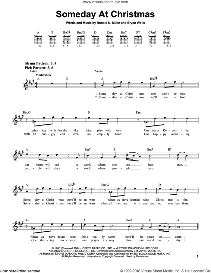 Someday At Christmas sheet music for guitar solo (chords) by Ronald N. Miller and Bryan Wells, easy guitar (chords)