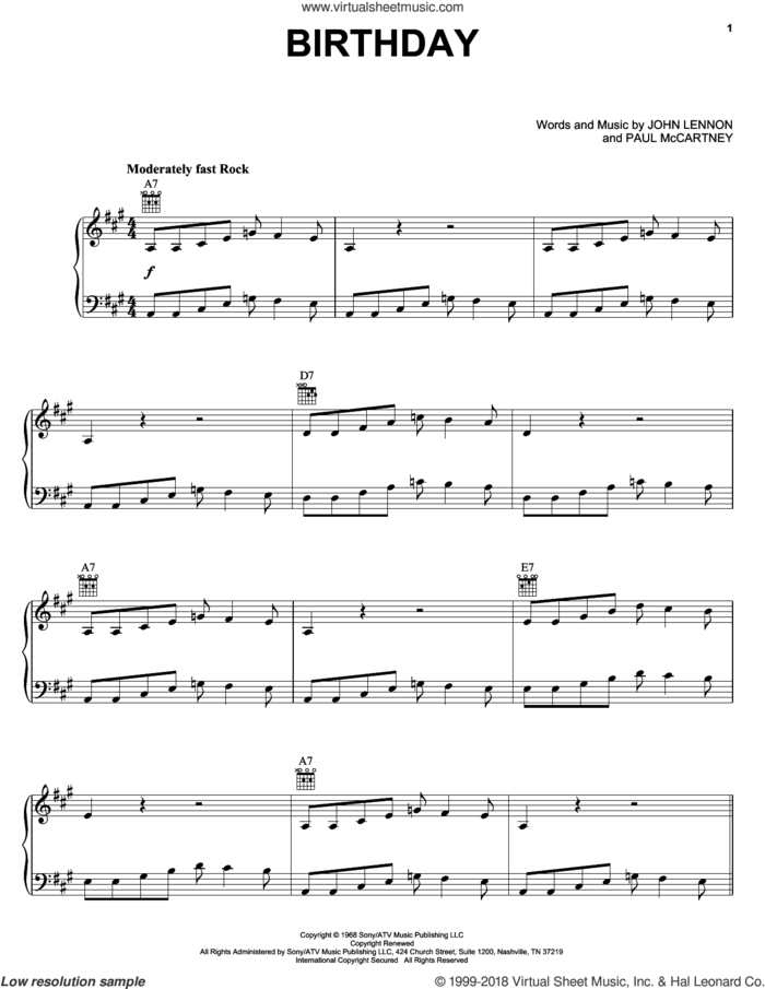 Birthday sheet music for voice, piano or guitar by The Beatles, John Lennon and Paul McCartney, intermediate skill level