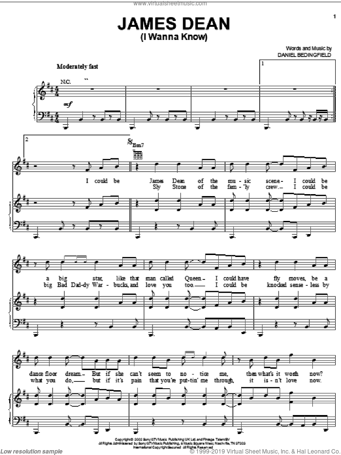 James Dean (I Wanna Know) sheet music for voice, piano or guitar by Daniel Bedingfield, intermediate skill level