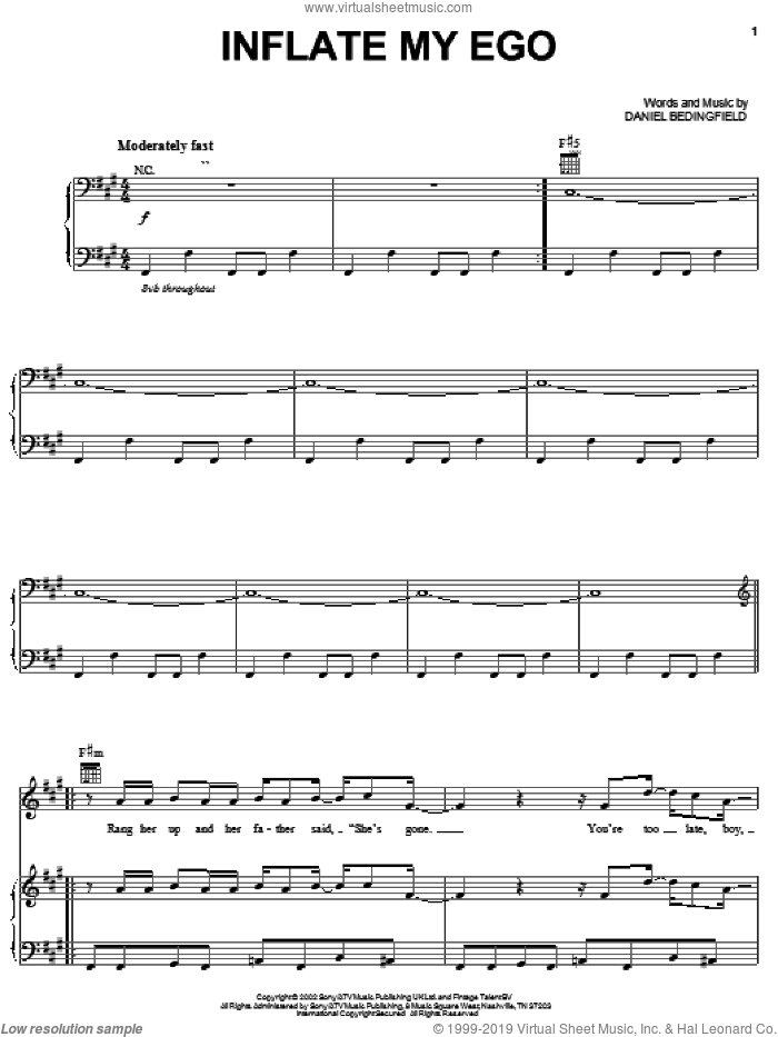 Inflate My Ego sheet music for voice, piano or guitar by Daniel Bedingfield, intermediate skill level