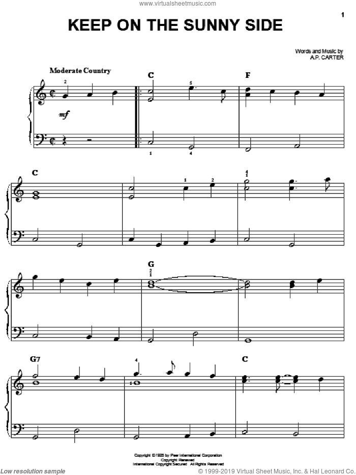 Keep On The Sunny Side sheet music for piano solo by The Carter Family, O Brother, Where Art Thou? (Movie) and A.P. Carter, easy skill level