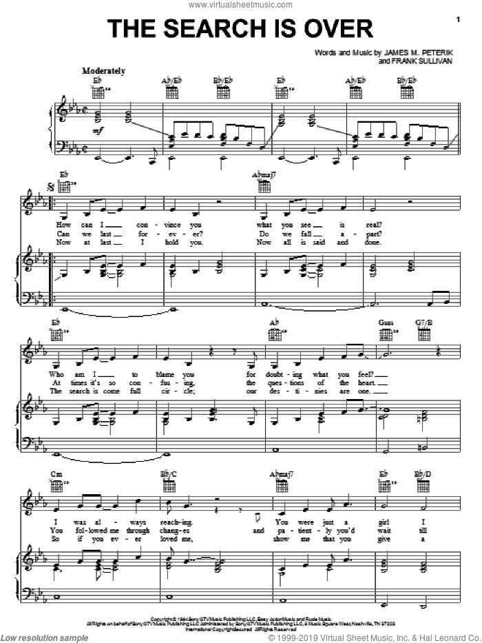 The Search Is Over sheet music for voice, piano or guitar by Survivor, Rock Of Ages (Musical), Frank Sullivan and Jim Peterik, intermediate skill level