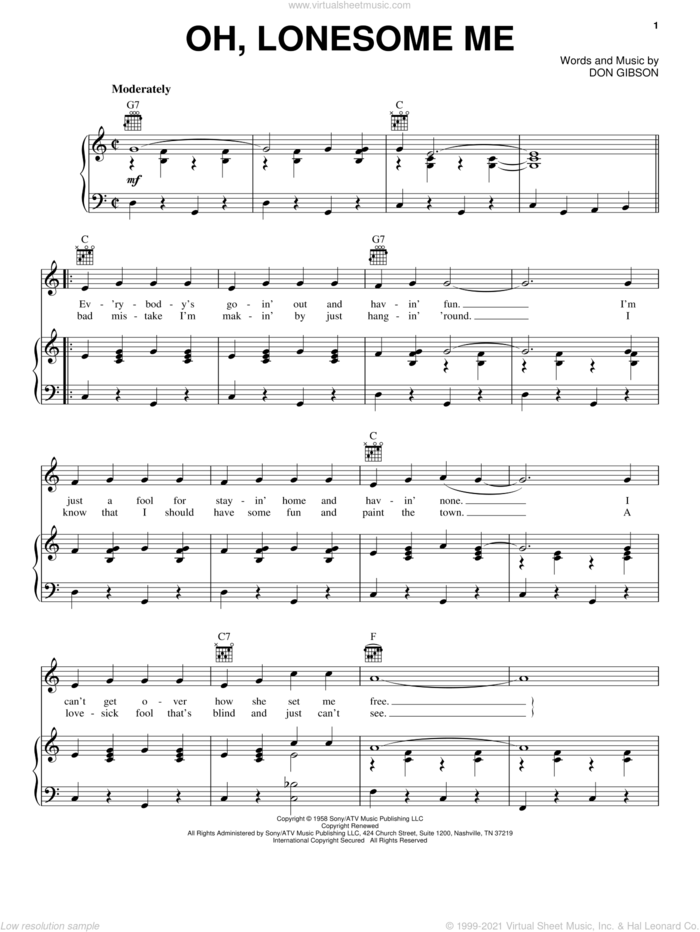 Oh, Lonesome Me sheet music for voice, piano or guitar by Don Gibson, intermediate skill level