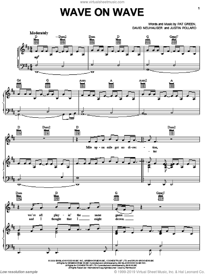 Wave On Wave sheet music for voice, piano or guitar by Pat Green, David Neuhauser and Justin Pollard, intermediate skill level