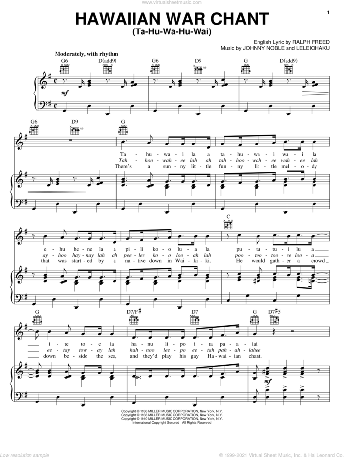Hawaiian War Chant sheet music for voice, piano or guitar by Tommy Dorsey, The Muppets, J. Noble, Leleiohaku and Ralph Freed, intermediate skill level