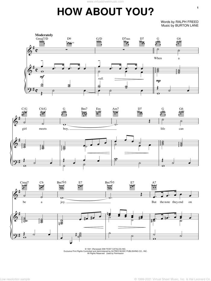 How About You? sheet music for voice, piano or guitar by Frank Sinatra, Judy Garland, Tommy Dorsey, Burton Lane and Ralph Freed, intermediate skill level