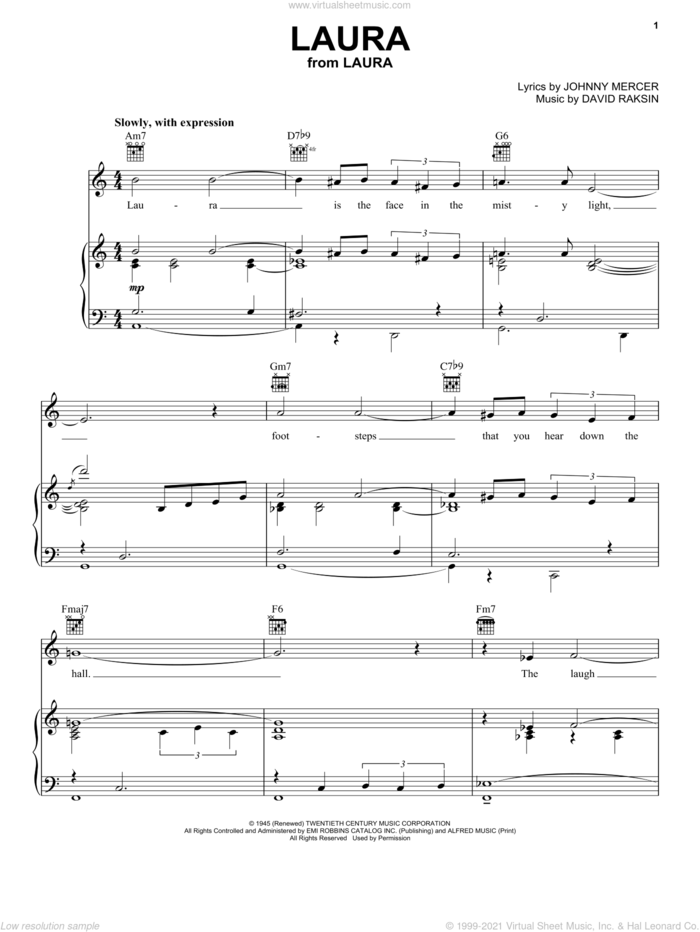 Laura sheet music for voice, piano or guitar by Frank Sinatra, Erroll Garner, Nat King Cole, David Raksin and Johnny Mercer, intermediate skill level