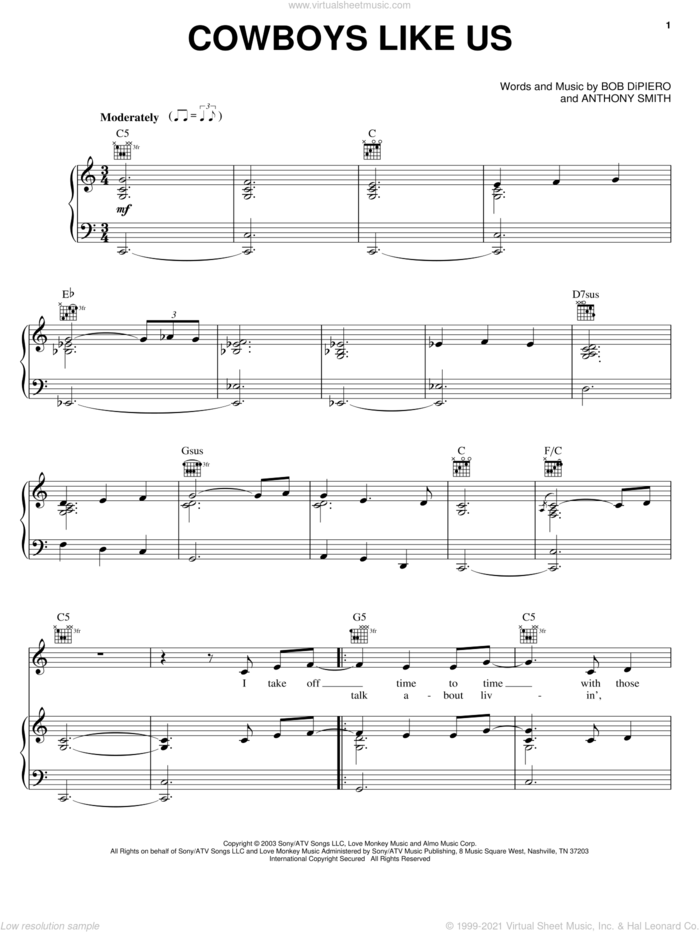 Cowboys Like Us sheet music for voice, piano or guitar by George Strait, Anthony Smith and Bob DiPiero, intermediate skill level