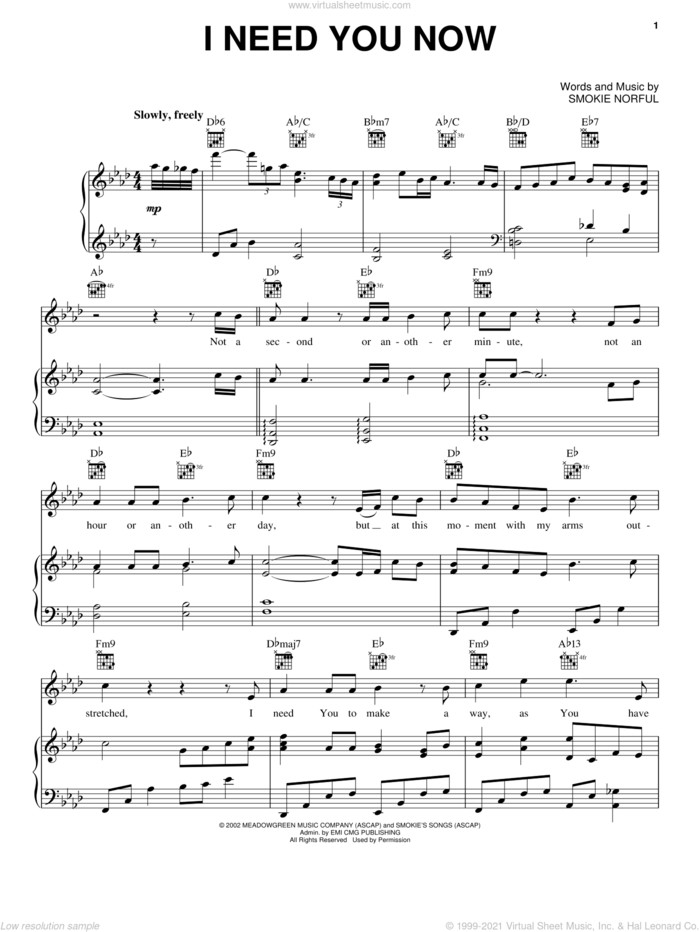 I Need You Now sheet music for voice, piano or guitar by Smokie Norful, intermediate skill level