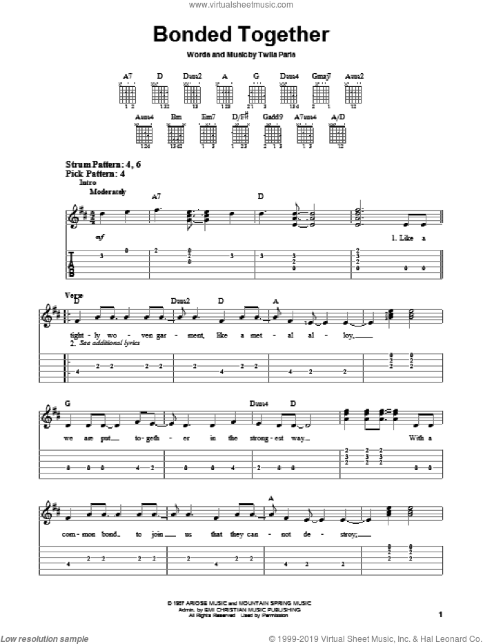 Bonded Together sheet music for guitar solo (chords) by Twila Paris, wedding score, easy guitar (chords)