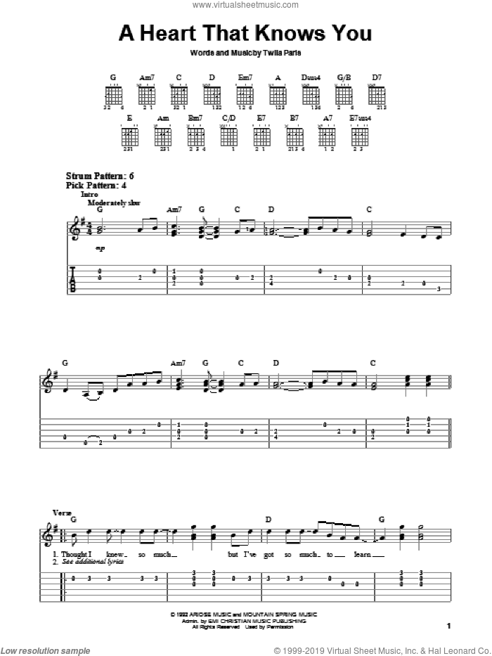 A Heart That Knows You sheet music for guitar solo (chords) by Twila Paris, easy guitar (chords)