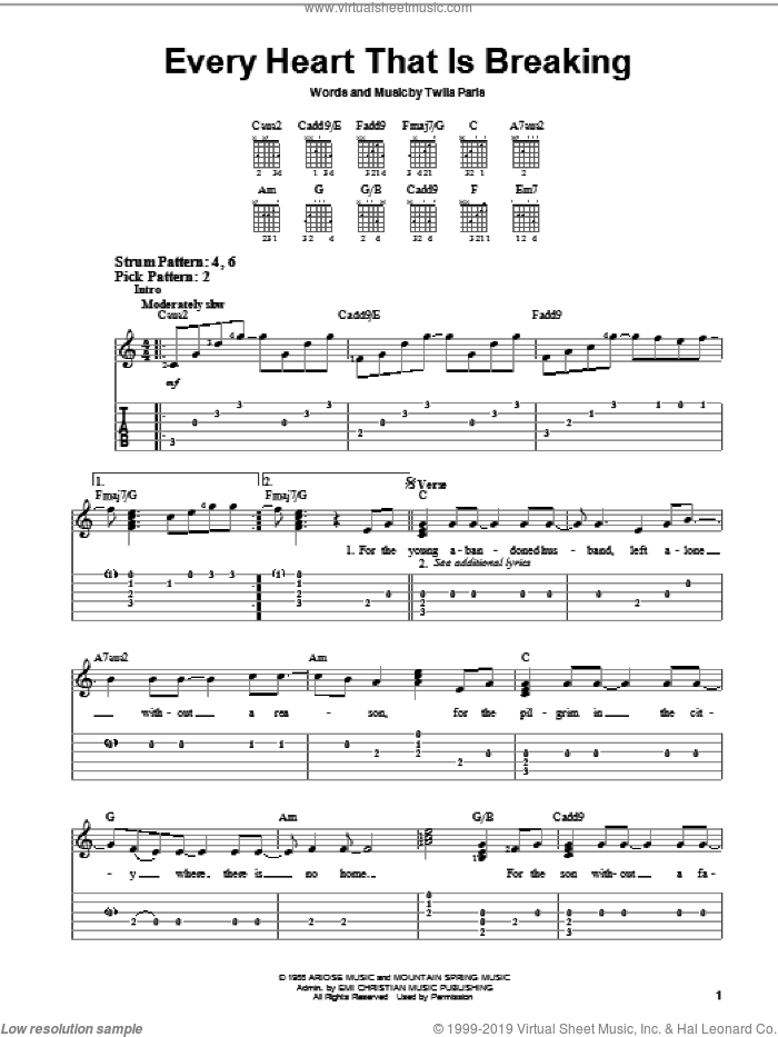 Every Heart That Is Breaking sheet music for guitar solo (chords) by Twila Paris, easy guitar (chords)