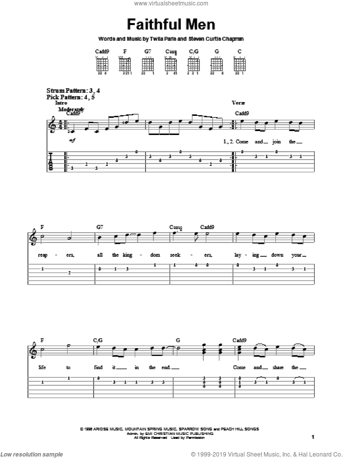 Faithful Men sheet music for guitar solo (chords) by Twila Paris, easy guitar (chords)