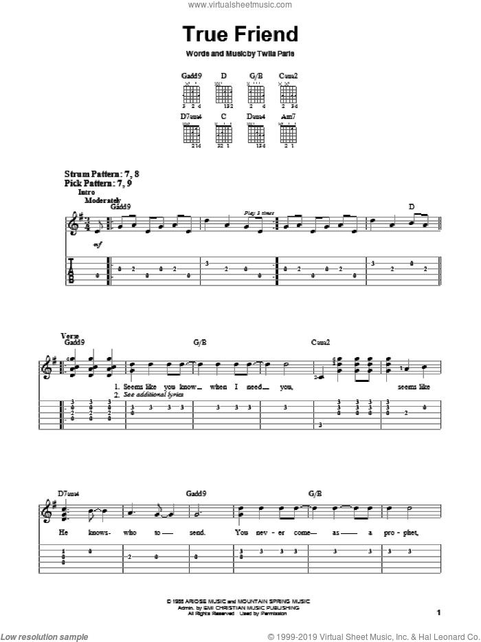 True Friend sheet music for guitar solo (chords) by Twila Paris, easy guitar (chords)