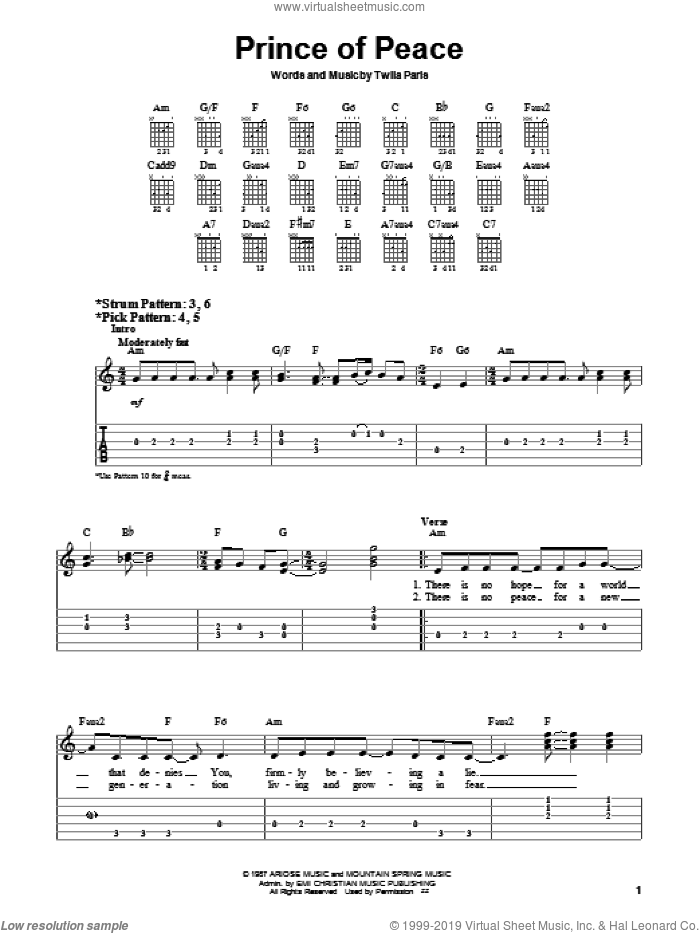 Prince Of Peace sheet music for guitar solo (chords) by Twila Paris, easy guitar (chords)