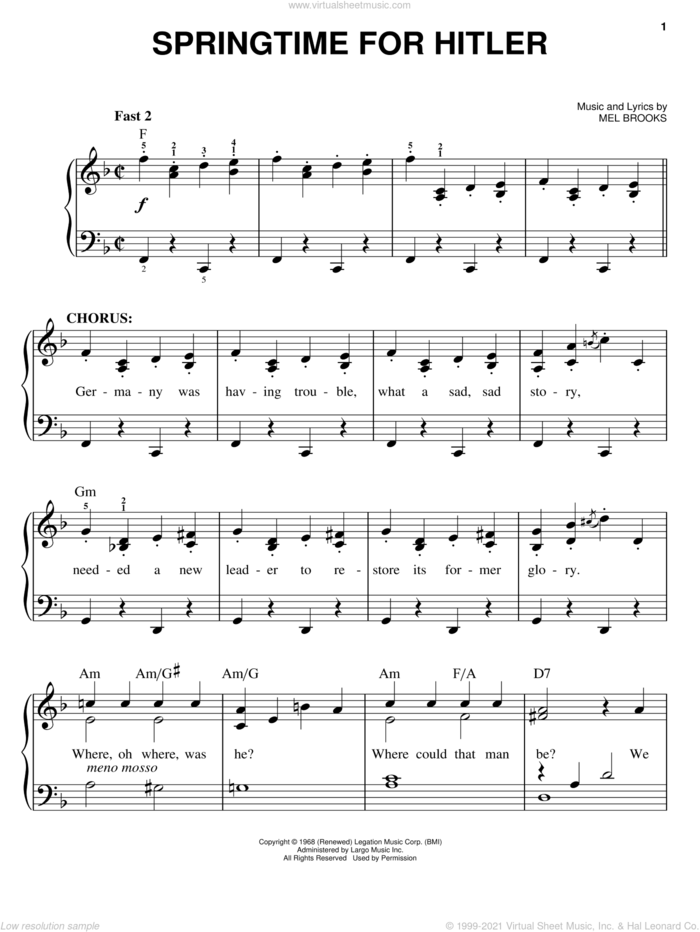 Springtime For Hitler sheet music for piano solo by Mel Brooks and The Producers (Musical), easy skill level