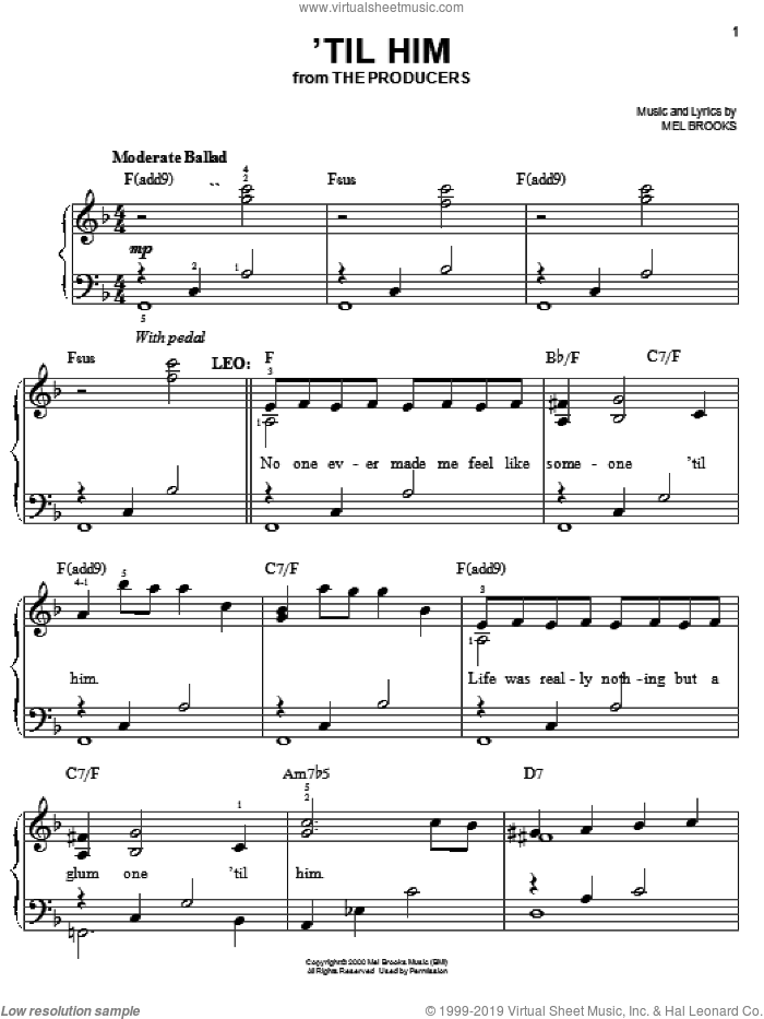 'Til Him sheet music for piano solo by Mel Brooks and The Producers (Musical), easy skill level