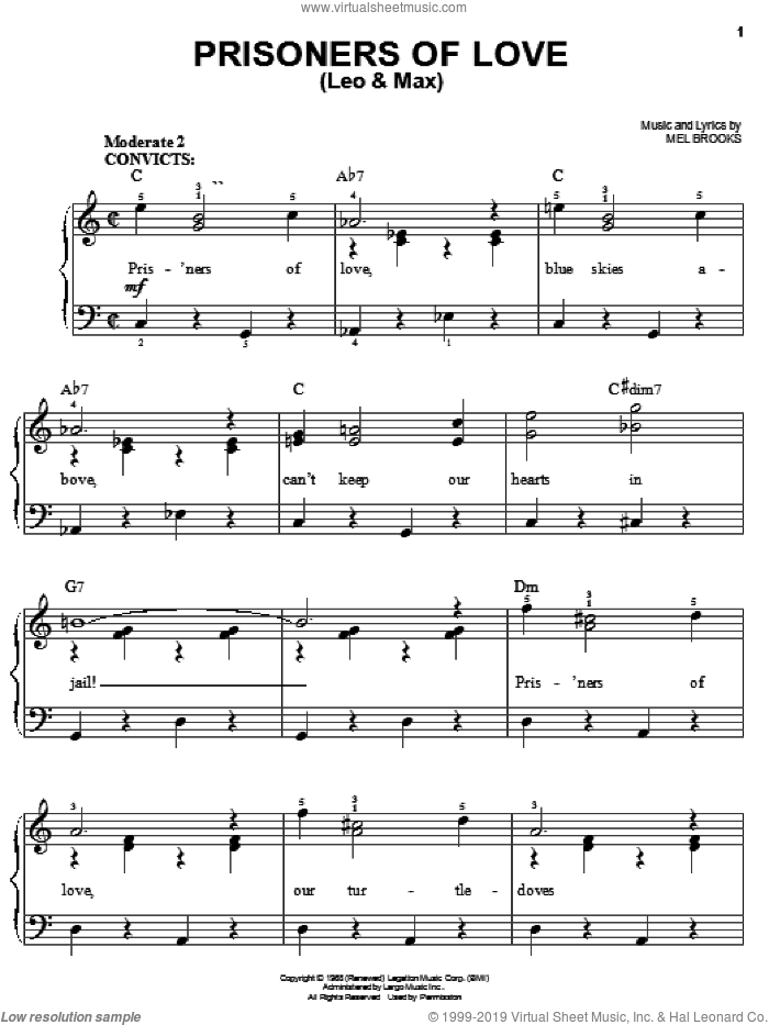 Prisoners Of Love (Leo and Max) sheet music for piano solo by Mel Brooks and The Producers (Musical), easy skill level