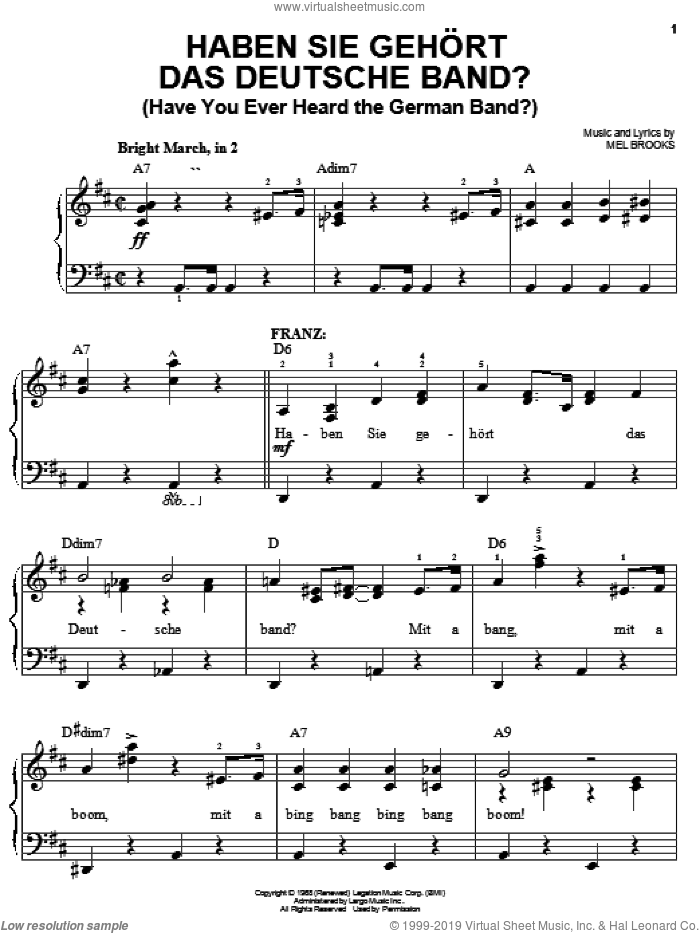 Haben Sie Gehort Das Deutsche Band? (Have You Ever Heard The German Band?) sheet music for piano solo by Mel Brooks and The Producers (Musical), easy skill level