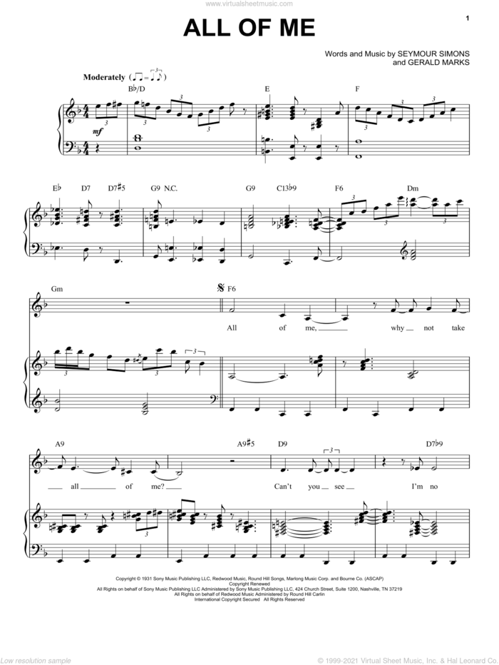 All Of Me sheet music for voice and piano by Billie Holiday, Frank Sinatra, Louis Armstrong, Willie Nelson, Gerald Marks and Seymour Simons, intermediate skill level