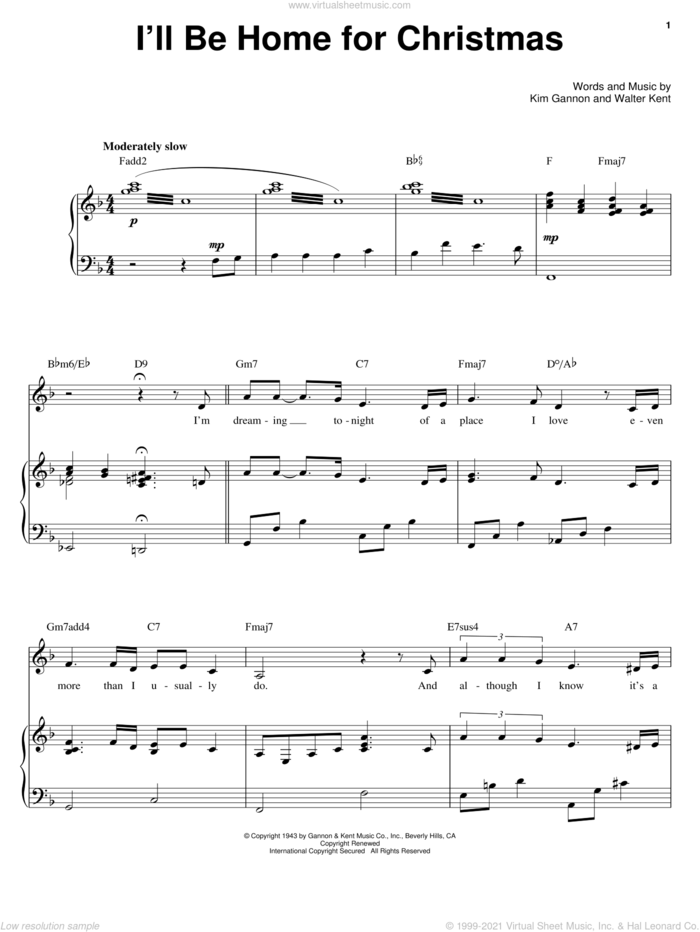 I'll Be Home For Christmas sheet music for voice, piano or guitar by Barbra Streisand, Bing Crosby, Kim Gannon and Walter Kent, intermediate skill level