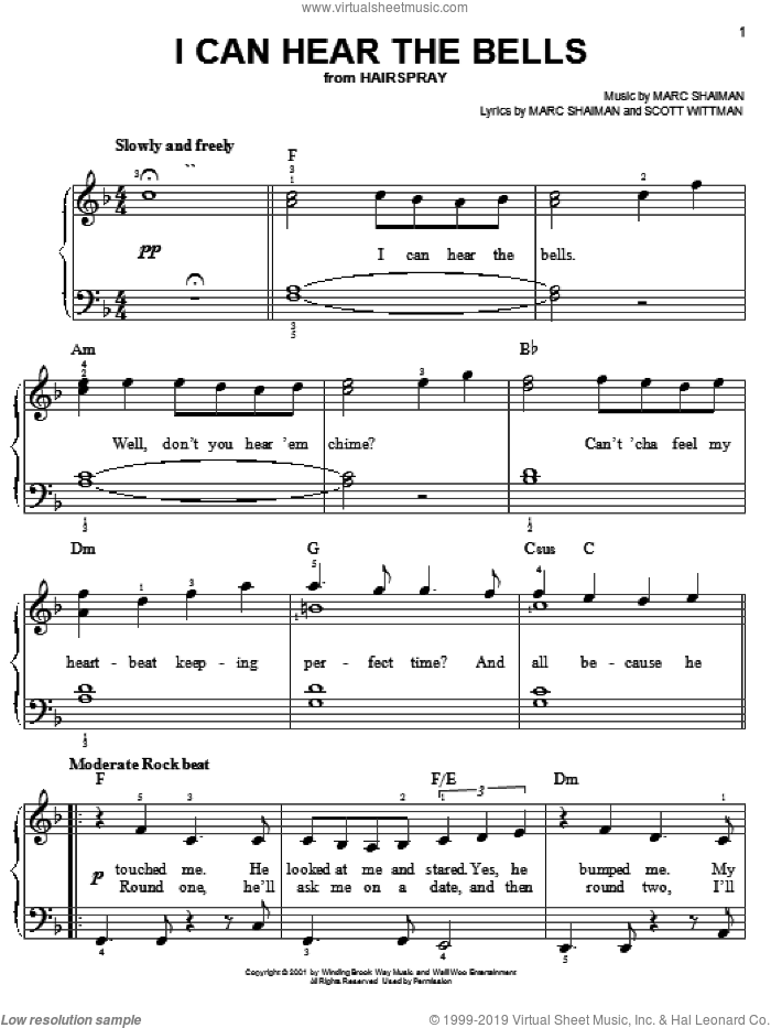 I Can Hear The Bells, (easy) sheet music for piano solo by Marc Shaiman, Hairspray (Musical) and Scott Wittman, easy skill level