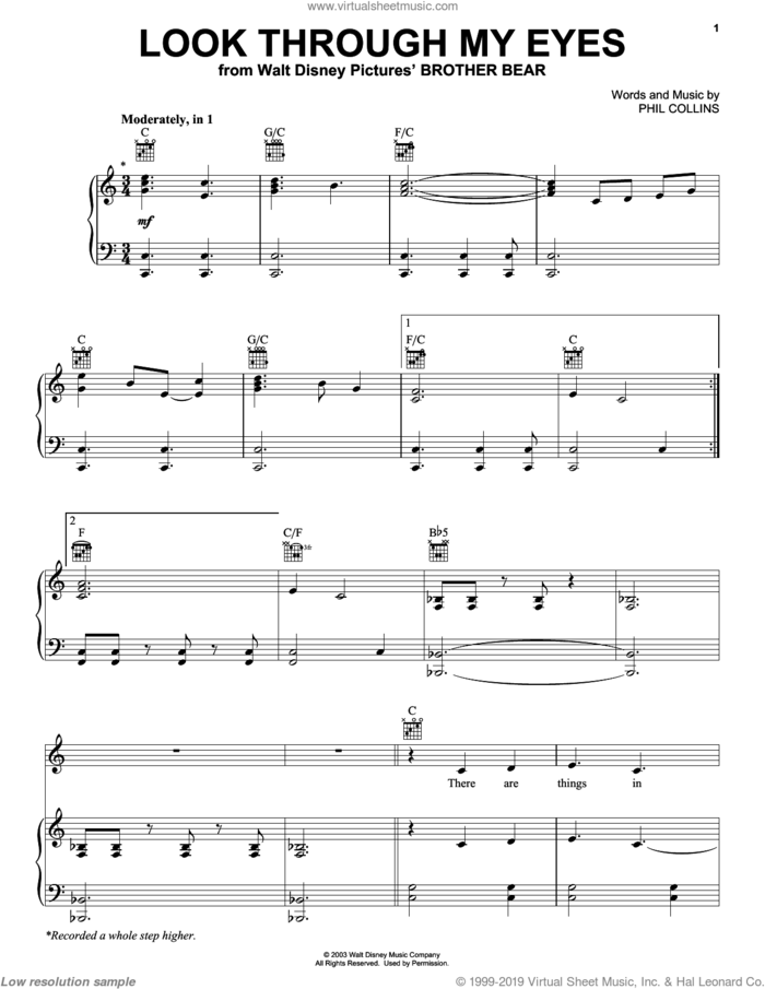 Look Through My Eyes sheet music for voice, piano or guitar by Phil Collins and Brother Bear (Movie), intermediate skill level