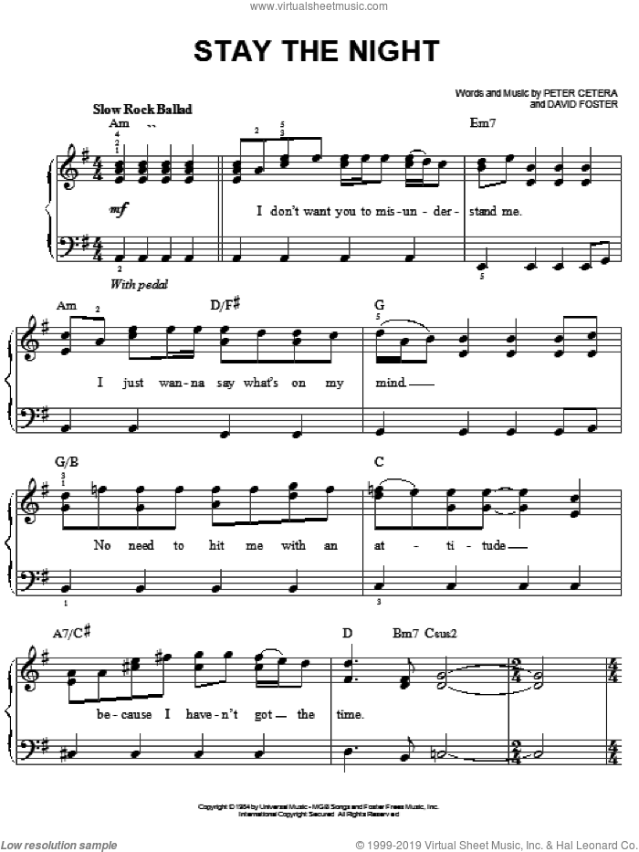 Stay The Night sheet music for piano solo by Chicago, David Foster and Peter Cetera, easy skill level