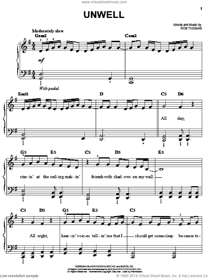 Unwell sheet music for piano solo by Matchbox Twenty, Matchbox 20 and Rob Thomas, easy skill level