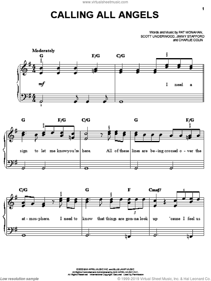 Calling All Angels sheet music for piano solo by Train, James Stafford, Pat Monahan and Scott Underwood, easy skill level