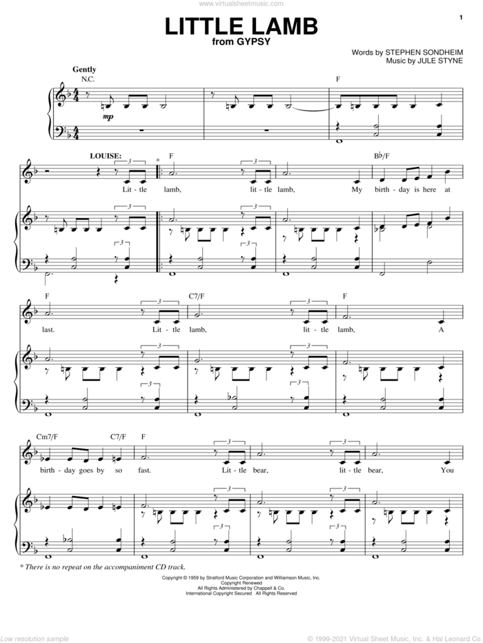Little Lamb sheet music for voice and piano by Stephen Sondheim, Gypsy (Musical) and Jule Styne, intermediate skill level