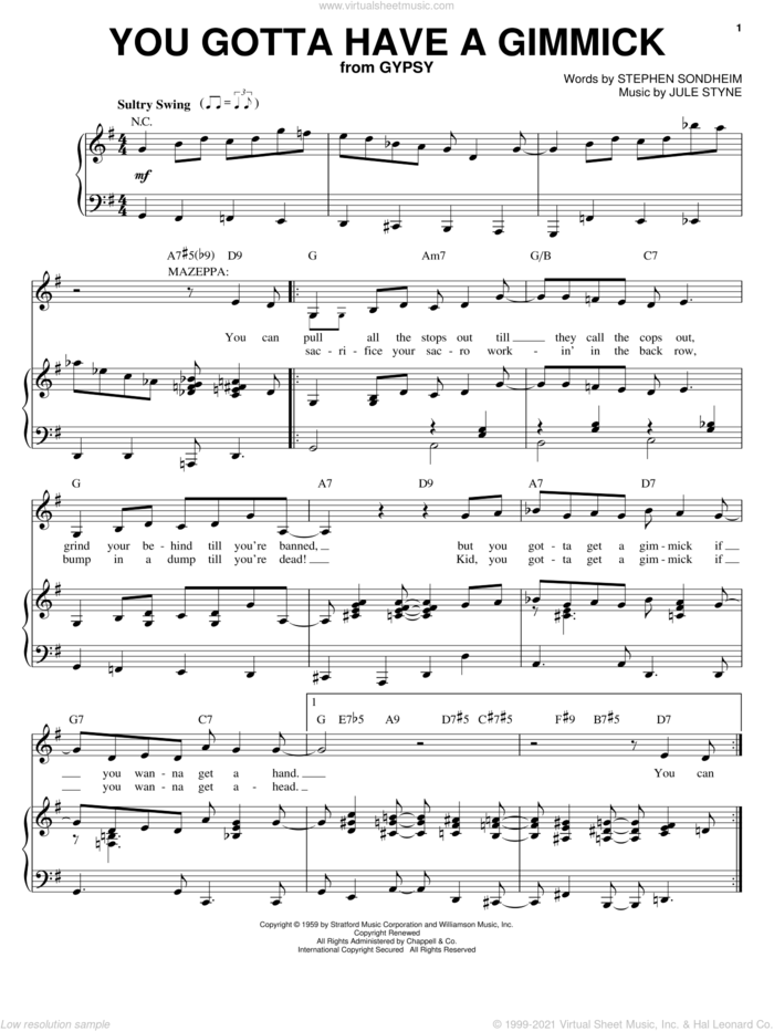 You Gotta Have A Gimmick sheet music for voice and piano by Stephen Sondheim, Faith Dane, Gypsy (Musical) and Jule Styne, intermediate skill level