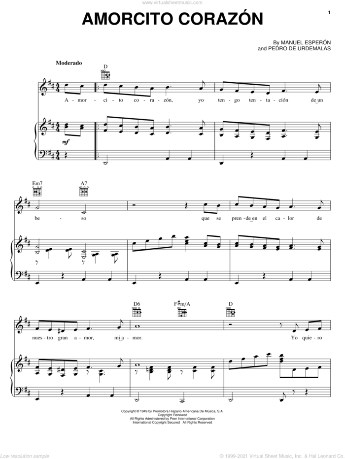 Amorcito Corazon sheet music for voice, piano or guitar by Manuel Esperon and Pedro de Urdemalas, wedding score, intermediate skill level