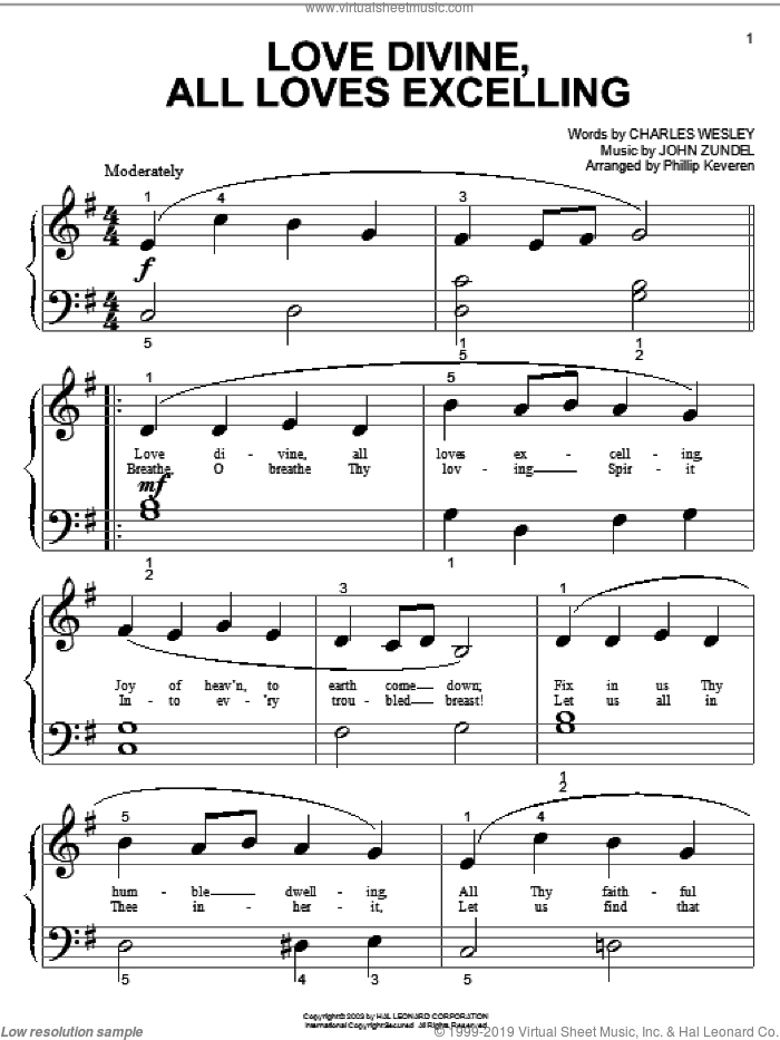 Love Divine, All Loves Excelling sheet music for piano solo (big note book) by Charles Wesley and John Zundel, easy piano (big note book)