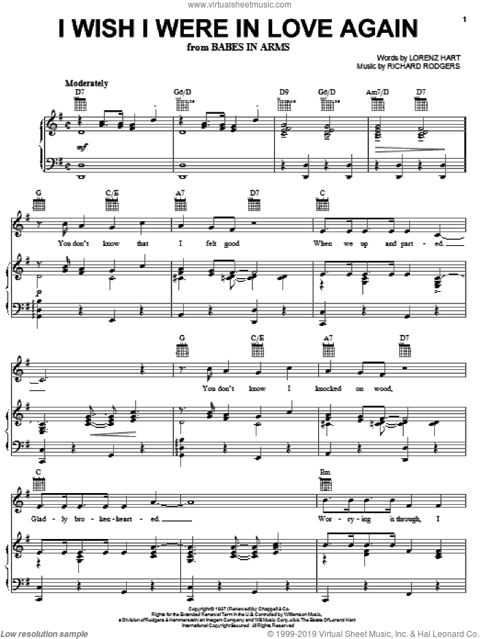 I Wish I Were In Love Again sheet music for voice, piano or guitar by Frank Sinatra, Babes In Arms (Musical), Rodgers & Hart, Lorenz Hart and Richard Rodgers, intermediate skill level