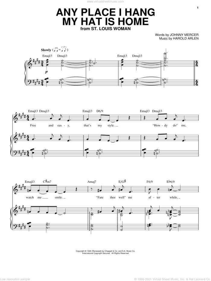 Any Place I Hang My Hat Is Home sheet music for voice, piano or guitar by Audra McDonald, Harold Arlen and Johnny Mercer, intermediate skill level