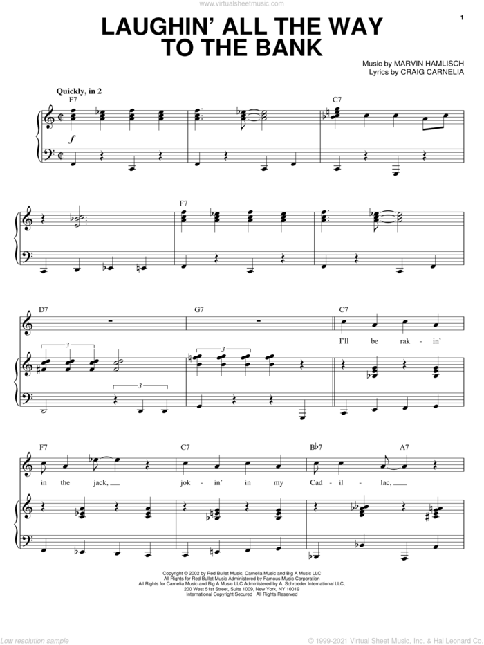 Laughin' All The Way To The Bank sheet music for voice and piano by Craig Carnelia, Sweet Smell Of Success (Musical) and Marvin Hamlisch, intermediate skill level