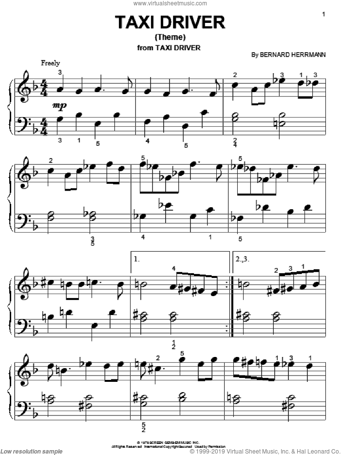 Taxi Driver (Theme) sheet music for piano solo (big note book) by Bernard Herrmann, easy piano (big note book)
