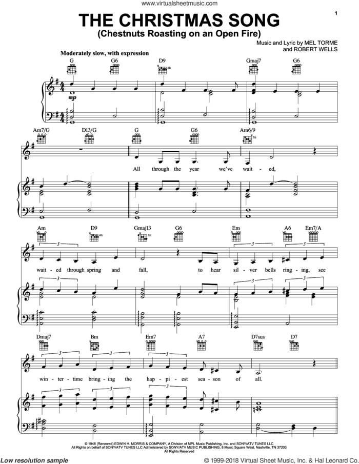 The Christmas Song (Chestnuts Roasting On An Open Fire) sheet music for voice, piano or guitar by Carpenters, Mel Torme and Robert Wells, intermediate skill level