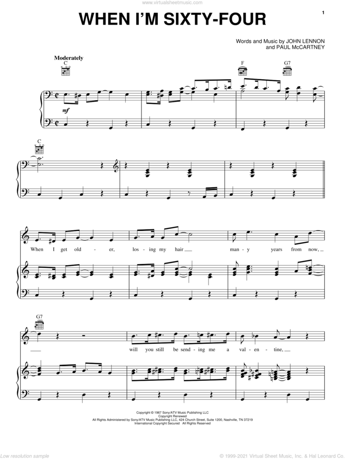 When I'm Sixty-Four sheet music for voice, piano or guitar by The Beatles, John Lennon and Paul McCartney, intermediate skill level
