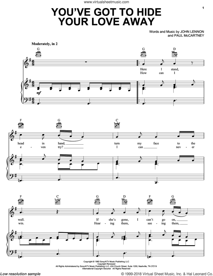 You've Got To Hide Your Love Away sheet music for voice, piano or guitar by The Beatles, Eddie Vedder, John Lennon and Paul McCartney, intermediate skill level